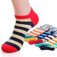 achat en gros de chaussettes en gros en vrac-Low Cut socquettes Couleur Stripe Men chausettes 20pairs de gros-Livraison gratuite Bulk Wholesale Hommes / lot S017