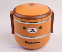 Cheap Kawaii Rilakkuma Bear 2 Layer Stainless Steel Food Storage Box Kids Thermal Insulated Food Container Bento Lunch Box Tableware