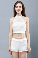 Wholesale Fashion Summer Trends Black and White Shorts See Through Outfit Two Piece Set Mesh Top Crop Tops Sporty Athletic