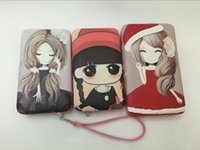 Wholesale Cute Mobile Pouches - Cute Cartoon Colored Pattern Lady Pu Leather Mobile Hand Bag With Card Slot Holder Money Pouch Pocket For iPhone 5 6 6SPlus