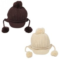 Wholesale Toddler Baby Earmuffs Beanie Knitted Wool Warm Winter Infant Boy Girl Cap Hat