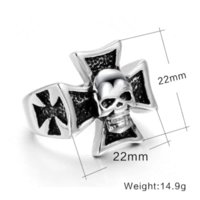 Wholesale Fashion Big Black Ring Stainless Steel Skull Cross Gothic Man Jewelry Promotion Cheap Price Cheap steel granules