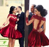 Wholesale Burgundy Formal Cocktail Dresses Lace Applique Crew Neck Tulle Long Sleeves Satin A Line Knee Length Homecoming Party Gowns