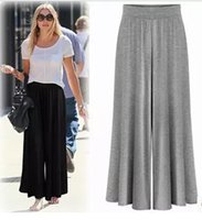 big leg women - 2016 summer in Europe and America big yards modal cotton solid color wide leg pants female culottes casual pants yoga pants trousers