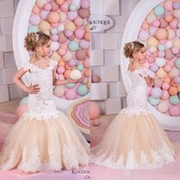 Wholesale 2016 Cupcake Lovely Champagne Lace Mermaid Flower Girls Dresses for Weddings Capped Sleeves Kids Wedding Dress Pageant Gowns for Little Girl