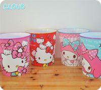 bedroom trash cans - Lovely Cartoon Hello Kitty My Melody Plastic Dustbin Sundries Barrel Trash Can Ash bin Bedroom Living Room Office Wastebasket