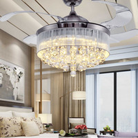 Wholesale 36 Inch Inch Led Ceiling Fans Light V Invisible Blades Ceiling Fans Modern Fan Lamp Living Room European Chandelier Ceiling Light