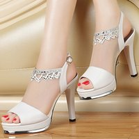 Wholesale Quality Assurance Woman Fashion Genuine Leather High Heels Diamond Banquet Gauze Dress Shoes Lady Sandals