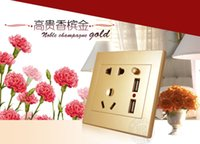Wholesale Universal USB Wall Socket AC V US UK EU AU Wall Socket Port V USB Outlet Power Charger for Cellphone Promotion