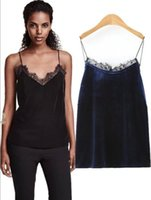 acrylic chest - Women Sexy T Shirt Evening Party Fashion New Autumn Winter Lace Velvet Chest strap vest AA