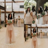 Discount junior plus pink bridesmaid dresses - Lace Boho Country Bridesmaid Dresses Cap Short Sleeves Jewel Neck 2017 Junior Maid of Honor Wedding Party Gowns Plus Size Sheer Tulle Skirt
