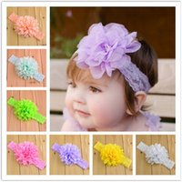 Headbands Lace Floral Hot baby Headwear Head Flower Hair Accessories Chiffon flower with soft Elastic crochet headbands stretchy hair band 16 colors