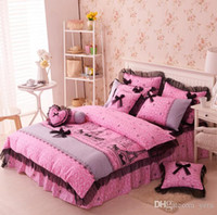 Wholesale Korean Princess Pink Black Lace bow bedding twin full queen cotton bed skirt Paris Eiffel Tower wedding bed linen