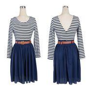 ball urban - Urban It Girl Style Fashion Long SLeeve Striped Pattern Vintage chiffon dress pleated dress good quality