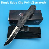 Wholesale Microtech Scarab Double Edge Single Side Serrated Smooth Action camping combat outdoor knife knives with bag BM A161 A162 Xmas gift7styl