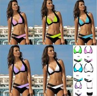 bating suits - 2016 New Women Bikinis Set Fashion Push Up Padded Bra Swimwear Patchwork Swimsuit Brand Bating Suit colors Size S M L XL XL XL