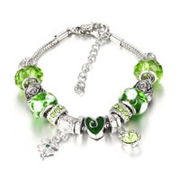 Cheap 2016 New Fashion Mix Style Charm Bracelet for Women Antique Silver Murano Glass Beads Bracelets & Bangles DIY Jewelry BYPD026