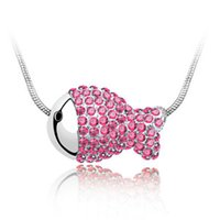 animal accesories - Female han edition clavicle chain element crystal necklace The clown fish FuGuiYu pendant Apparel accesories colors can option B08