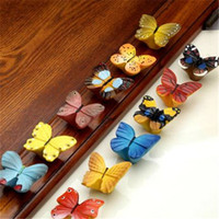 Wholesale Colorful Resin Butterfly Handle Knobs Single Hole Furniture Cabinet Cupboard Wardrobe Drawer Door Knob Pulls Kids Room Decor