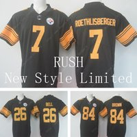 authentic steelers jersey - Newest Limited Rush Steelers Le Veon Bell Ben Roethlisberger Antonio Brown Stitched Embroidery Authentic Football Jerseys