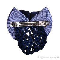 Wholesale 2016 New Hot Monochrome fashion satin bow hairpin hairpin lady hairnet ya