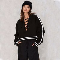 Wholesale Fashion Jogging Suits Women New Winter Long Sleeve Sexy Lace Up Sweatshirt Casual Short Loose Striped Hoodies Pullover Tops