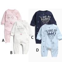 baby long underwear - New Baby Fall Jumpsuits Rompers Infant Unisex White Letter Onesies Kids I love my daddy Cotton Bodysuits Winter Newborn Underwear