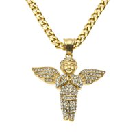 baby link - New Design Stainless Steel Gold Iced Out Bling Mini Baby Angel Piece Wings Pendant quot quot Miami Cuban Chain Necklace