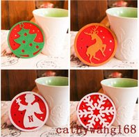 beer cartoons - Cute Cartoon Coaster holder Christmas Coaster Snow Tree Moose Beer Angel Coffee Cup Coaster Tea Mat Festive Party Decoration
