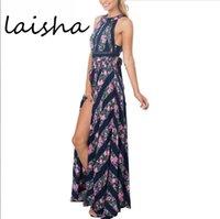 Wholesale new sexy sleeveless floral print long dress Hollow out backless summer dresses High waist maxi dress vestidos