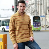 acrylic computer stand - Winter Men s Sweaters Warm Thicken Striped Sweaters For Man Zipper Pullovers Stand Collar Casual Knitwear Sweater Size XL