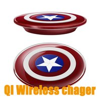 america apple - Universal Qi Wireless Charger Transmitter Captain America Charging Plate for Samsung iPhone Plus Universal Qi Wireless Charger transmitter