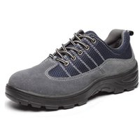 Wholesale Men s Summer Work Safety Shoes Protective Boots Smash proof Penetration resistant Steel Toe Fashionable Blue Grey Shoes