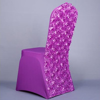 Wholesale 2016 New Wedding Lycra Spandex Chair Cover Back With Satin Rosette Fabric banquet Chair Cover Mixed colors fast shipping