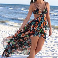 big before flowering - 2016 New Bohemian Style Beach Dress Chiffon Broken Flowers Fashion Before Long After Short Big Skirt High Waist Harness Dress B