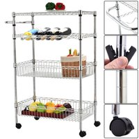 Cheap 4-Tier 2 Baskets Rolling Steel Kitchen Trolley Cart Island Wire Rack
