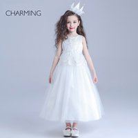 beauty prints - glitz beauty pageants designer dresses for kids White round neck Belt decoration long section Crepe fabrics Bubble Skirt