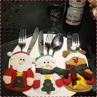 Wholesale 6Pcs Christmas Decoration For Home Silverware Holdersanta Pockets Dinner Knife Fork Holders Santa Claus Christmas Ornament