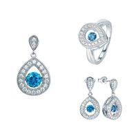 arrival diamond shape - new arrival waterdrop shape dancing diamond jewelry sets women Fashion Fine Jewelry whoesale