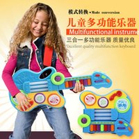 Wholesale Multifunctional Toy Guitar Combo keyboard with light in children over years old music toys