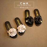 Wholesale CMK KS016 Summer Time Colors Girls Elegant Camellia Slippers Flower Sandals Princess Kids Low heeled Children Shoes New Arrival