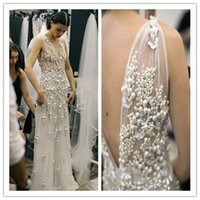 beach end - High end custom Celebrity Wedding Dresses Elegant V Neck Sleeveless Backless With Pearls Applique Crystal Sweep Train Bridal Gown