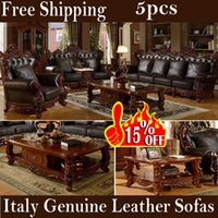 antique carved tables - 5pcs italian genuine leather living room sofa set wood carving Deluxe Villa furniture sofa pc tea table pc side table