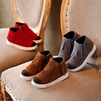 aa hooks spring - Hug Me Girls Boys New Autumn Children s Shoes Tassel Casual Shoes Running Sports Lace Up Boots Shoes AA