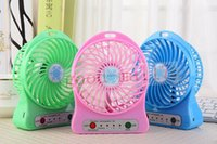 mini fan - Mini Protable Fan Multifunctional USB Rechargerable Kids Table Fan LED Light Battery Adjustable Speed Snow cool Multi Color With Box