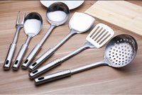 Wholesale 7 Piece Stainless Steel Cooking Kitchen Spoon Spatula Meat fork Utensils set And Holder