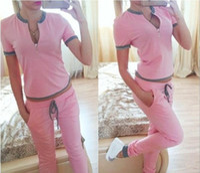 Wholesale Women s track suit clothes summer new fashion cotton V neck short sleeved leisure suits