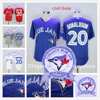 Wholesale Josh Donaldson Jersey With th Patch Toronto Blue Jays Baseball Vintage Flexbase Cool Base Stitched Button White Grey Blue Red
