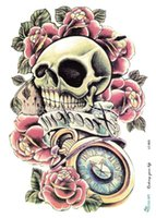 arm skeleton - WSST032 Environmental protection tattoo stickers can be customized to the trend of terror skeleton big flower