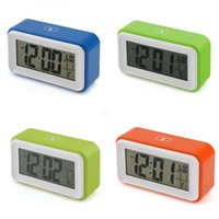 Wholesale Hot Snooze Digital Alarm Clock LCD Display Light Sensor Control Temperature New